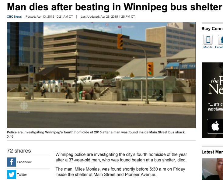 CBC.ca - Winnipeg bus stop where first murder occurred.